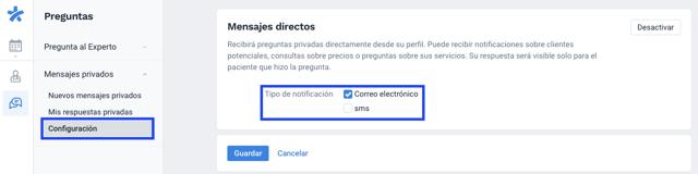 Mensajes Directos Configuracion